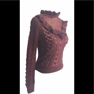 Zara schoolgirl ruffle neck sweater